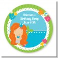 Mermaid Red Hair - Round Personalized Birthday Party Sticker Labels thumbnail