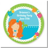 Mermaid Red Hair - Round Personalized Birthday Party Sticker Labels