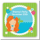 Mermaid Red Hair - Square Personalized Birthday Party Sticker Labels