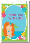Mermaid Red Hair - Birthday Party Thank You Cards