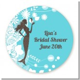 Mermaid - Round Personalized Bridal Shower Sticker Labels