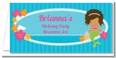 Mermaid African American - Personalized Birthday Party Place Cards