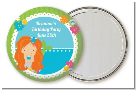 Mermaid Red Hair - Personalized Birthday Party Pocket Mirror Favors