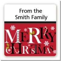 Merry Christmas - Square Personalized Christmas Sticker Labels