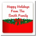 Merry Christmas Wreath - Square Personalized Christmas Sticker Labels thumbnail