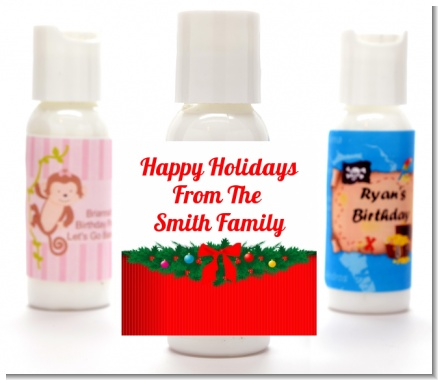 Merry Christmas Wreath - Personalized Christmas Lotion Favors