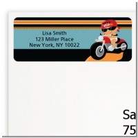 Motorcycle Hispanic Baby Boy - Baby Shower Return Address Labels