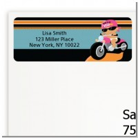 Motorcycle Hispanic Baby Girl - Baby Shower Return Address Labels
