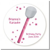 Microphone - Round Personalized Birthday Party Sticker Labels