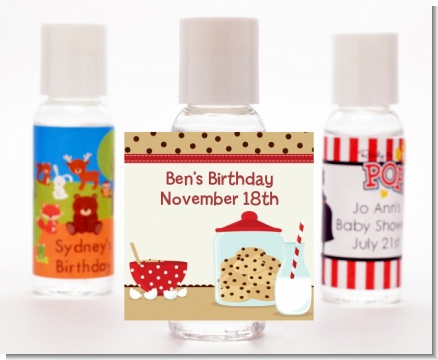 Milk & Cookies - Personalized Birthday Party Hand Sanitizers Favors