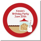Milk & Cookies - Round Personalized Birthday Party Sticker Labels