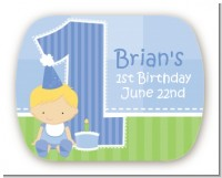 1st Birthday Boy - Personalized Birthday Party Rounded Corner Stickers