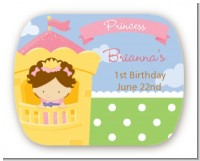 Princess in Tower - Personalized Birthday Party Rounded Corner Stickers