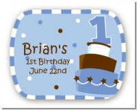 1st Birthday Topsy Turvy Blue Cake - Personalized Birthday Party Rounded Corner Stickers