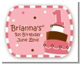 1st Birthday Topsy Turvy Pink Cake - Personalized Birthday Party Rounded Corner Stickers thumbnail