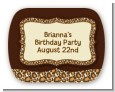Leopard Brown - Personalized Birthday Party Rounded Corner Stickers thumbnail
