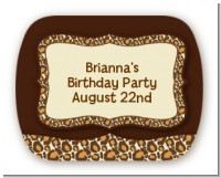 Leopard Brown - Personalized Birthday Party Rounded Corner Stickers