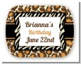Leopard & Zebra Print - Personalized Birthday Party Rounded Corner Stickers thumbnail