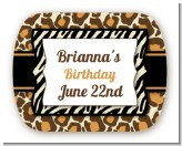 Leopard & Zebra Print - Personalized Birthday Party Rounded Corner Stickers