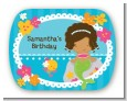 Mermaid African American - Personalized Birthday Party Rounded Corner Stickers thumbnail