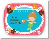 Mermaid Brown Hair - Personalized Birthday Party Rounded Corner Stickers