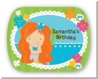 Mermaid Red Hair - Personalized Birthday Party Rounded Corner Stickers