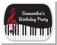 Musical Notes Black and White - Personalized Birthday Party Rounded Corner Stickers thumbnail
