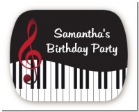 Musical Notes Black and White - Personalized Birthday Party Rounded Corner Stickers