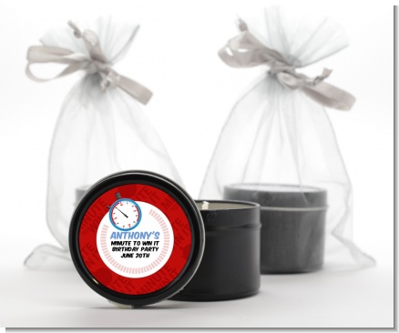 Minute To Win It Inspired - Birthday Party Black Candle Tin Favors