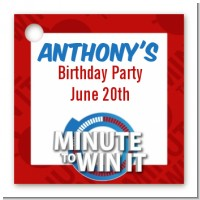 Minute To Win It Inspired - Personalized Birthday Party Card Stock Favor Tags
