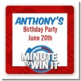 Minute To Win It Inspired - Square Personalized Birthday Party Sticker Labels thumbnail