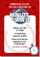 Minute To Win It Inspired - Birthday Party Invitations