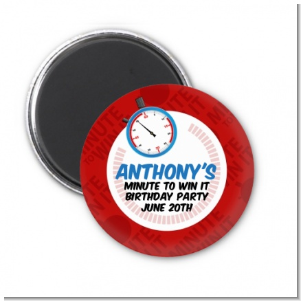 Minute To Win It Inspired - Personalized Birthday Party Magnet Favors