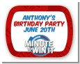 Minute To Win It Inspired - Personalized Birthday Party Rounded Corner Stickers thumbnail