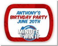 Minute To Win It Inspired - Personalized Birthday Party Rounded Corner Stickers
