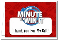 Minute To Win It Inspired - Birthday Party Thank You Cards