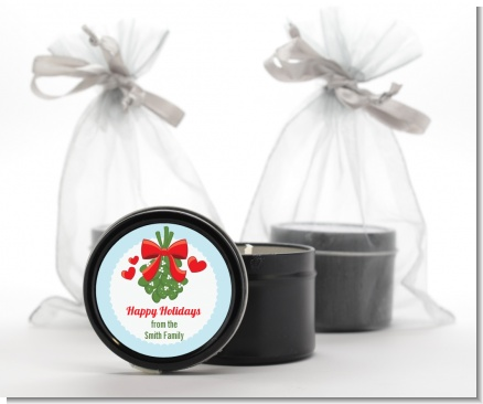 Mistletoe - Christmas Black Candle Tin Favors