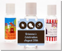 Modern Baby Boy Blue Polka Dots - Personalized Baby Shower Hand Sanitizers Favors