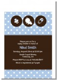 Modern Baby Boy Blue Polka Dots - Baby Shower Petite Invitations