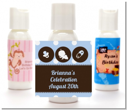 Modern Baby Boy Blue Polka Dots - Personalized Baby Shower Lotion Favors