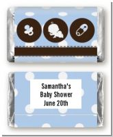 Modern Baby Boy Blue Polka Dots - Personalized Baby Shower Mini Candy Bar Wrappers