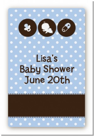 Modern Baby Boy Blue Polka Dots - Custom Large Rectangle Baby Shower Sticker/Labels