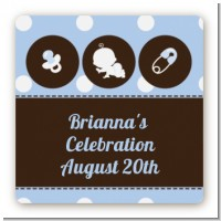 Modern Baby Boy Blue Polka Dots - Square Personalized Baby Shower Sticker Labels
