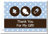 Modern Baby Boy Blue Polka Dots - Baby Shower Thank You Cards