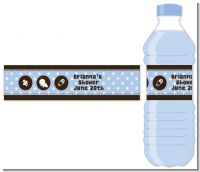 Modern Baby Boy Blue Polka Dots - Personalized Baby Shower Water Bottle Labels