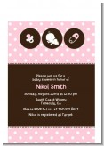 Modern Baby Girl Pink Polka Dots - Baby Shower Petite Invitations