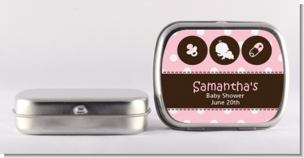 Modern Baby Girl Pink Polka Dots - Personalized Baby Shower Mint Tins