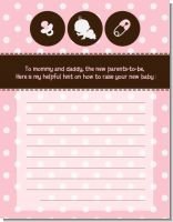 Modern Baby Girl Pink Polka Dots - Baby Shower Notes of Advice