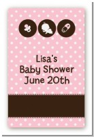 Modern Baby Girl Pink Polka Dots - Custom Large Rectangle Baby Shower Sticker/Labels