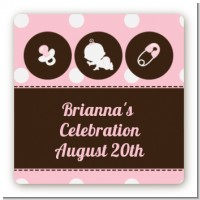 Modern Baby Girl Pink Polka Dots - Square Personalized Baby Shower Sticker Labels